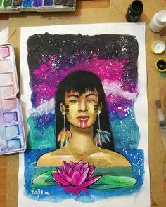 "31 Me gusta, 1 comentarios - Grillo Benitez Balcinha (@grillote69) en Instagram: ""#watercolorpainting #watercolor #acuarelas #paraguay #nativa #mujernativa #guaraní #arte #art"""