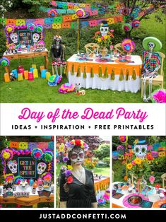 Calling all souls! This Day of the Dead Tween Halloween Party is so much fun! From the Dia de los Muertos painted skeletons and make-up tutorial, to the bright and colorful decor ideas you don't want to miss it! Also, recreate the look in no time with a full pack of FREE party printables! #dayofthedead #JustAddConfetti #partyprintables