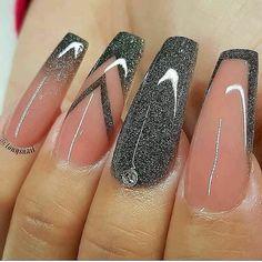 Cute Acrylic Nail Designs, Beautiful Nail Designs, Nail Art Designs, Nails Design, New Years Nail Designs, Black Nail Designs, Coffin Shape Nails, Coffin Nails Long, Summer Acrylic Nails