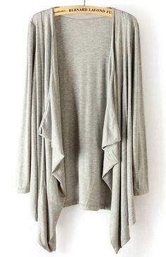 ++ Grey Long Sleeve Asymmetrical Cape Outerwear