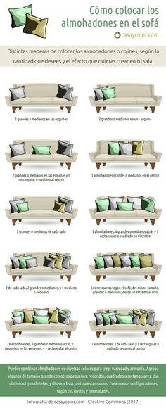 Cuántos usar y cómo colocar los almohadones en el sofá (Infografía) - Casa y Color
