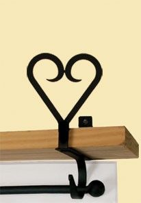 Wrought iron heart curtain shelf bracket from Sticks & Stitches