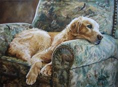 Golden Retriever in Chair - oil painting -- Anne Zoutsos