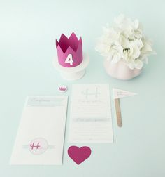 Guests were cordially invited to attend this princess-themed celebration for a little princess's 4th birthday with custom invitations —in pastel pink and blue. Source: Branco Prata