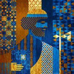 Judas Tadeu em azuis da Pérsia – 2016 ... #SaoJudasTadeu  #28deoutubro #SaintJude #santodascausasimpossiveis #RogaiPorNós#ArteSacra #menotecordeiro #brazilianpainter#Contemporaryart #artiste #symmetry #obradearte#artecontemporanea #quadros