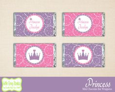 Princess Mini Chocolate Bar Wrappers Princess by WithEnvyParties, $5.00