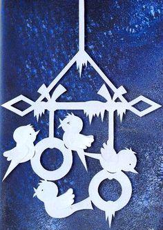 ПТИЦЫ - Снегири - УКРАШЕНИЯ-подвески из бумаги на окна, для комнаты, класса…