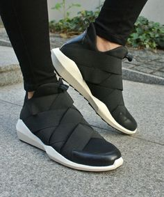 ASH(アッシュ)の【新作】【QUID】BL スリッポンハイカットスニーカー(スニーカー)|ブラック Sock Shoes, Men's Shoes, Shoe Boots, Shoes Sneakers, Black Sneakers, Sneakers Fashion, Fashion Shoes, Mens Fashion, Sports Shoes
