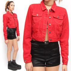 Forever 21 90's Hip Hop Vintage Style Bright Red Cropped Jean Jacket | eBay