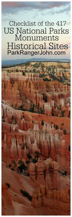 Printable Checklist of the 417 US National Park Sites including National Parks, Seashores, Historic Sites, and more via @ParkRangerJohn