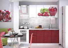 Kuchynská zostava ARTEMIS 160 v modernom štýle. Dvierka sú vyrobené z kvalitnej MDF vo farbe biely lesk, červený lesk so striebornými pruhmi a obrázok. Kovové úchytky. Artemis, Kitchen Cabinets, Apple, Furniture, Home Decor, Mall, Tattoos, Apple Fruit, Decoration Home