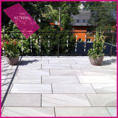#terrazzo con la nostra collezione RE-WORK // #terrace with our RE-WORK collection #abk #ceramica #cool #gres #ceramics #tile #tiles #floor #pavimento #outdoor #esterno #decor #design #fiori #piante