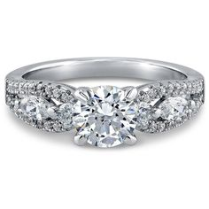 BERRICLE Sterling Silver with 1.58 ct.tw Round Swarovski Zirconia... ($55) ❤ liked on Polyvore featuring jewelry, rings, solitaire engagement rings, solitaire ring, cubic zirconia anniversary rings, sterling silver cz rings and anniversary band rings