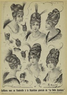 While facial hair for men wasn't acceptable until the many men wore false beards and mustaches in their leisure time 1800s Hairstyles, Historical Hairstyles, Edwardian Hairstyles, Fancy Hairstyles, Vintage Hairstyles, Edwardian Fashion, Vintage Fashion, French Fashion, Vintage Hair Combs