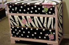 Zebra and polka dots!  :) think I'll try this with a dresser I have from Ikea and use it to store crafts