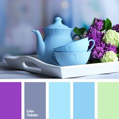 blue and light green, blue and lilac, blue and violet, bright light green, bright shades of blue, colour of lilac, light green and blue, light green and lilac, light green and violet, rich blue, shades of lilac, violet and blue, violet and light green, violet and lilac.