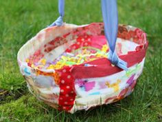 Cool project from http://www.kiwicrate.com/projects/Mod-Podge-Fabric-Easter-Basket/2008: Mod Podge Fabric Easter Basket