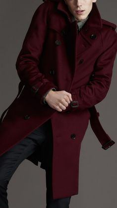 Burgundy trench coat -- trending color of the season.