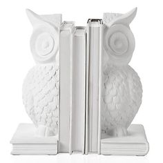 White Owl Bookends.... These are awesome, how cute would they be in a nursery with some colorful baby books?