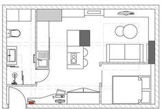 Combles aménagés : 10 plans pour exemple d'aménagement - Côté Maison Plan Studio, Studio Apt, Apartment Floor Plans, Cool House Designs, Tiny House, Small Houses, Small Spaces, Home Goods, Interior Decorating