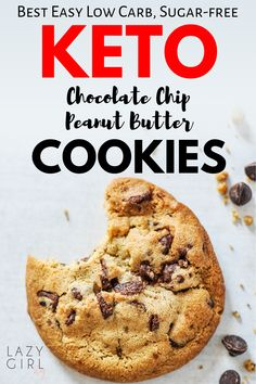 Easy Low Carb Keto Chocolate Chip Peanut Butter Cookies – Lazy Girl Homemade Easy Low Carb Keto Chocolate Chip Peanut Butter Cookies are soft, and completely sugar-free deliciously rich low carb dessert! Keto Chocolate Chips, Sugar Free Chocolate, Chocolate Cookies, Chocolate Cream, Chocolate Bars, Tagalong Cookies, Keto Chocolate Chip Cookie Recipe, Dessert Chocolate, Keto Snacks