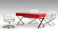 A&X Congress Transitional Red Crocodile Desk - Office