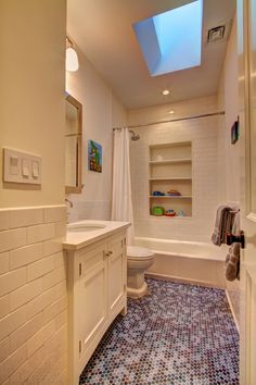 oh, cute penny tiles and i really like the the built in for the tub/shower.  great for a kids bathroom.