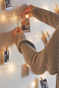 DIY Projekte mit Wäscheklammern Fotowand zum Selbermachen
