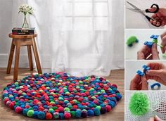 Pom Pom Crafts are not only fun to make but are as colorful as the mind of your child. Check out colorful and wow Pom Pom crafts here. Diy Pom Pom Rug, Pom Pom Crafts, Pom Poms, Cool Diy, Easy Diy, Teen Room Decor, Diy Room Decor, Room Decorations, Diy Pompon