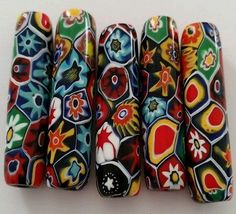 VTG VENETIAN MILLEFIORI ART GLASS 82 LOOSE BEADS LONG ROUND RAISED EYE ITALY LOT
