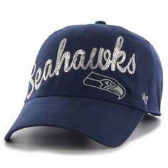 14e0031ec Seattle Seahawks  47 Brand Women s Sparkle Script Clean Up Adjustable Hat -  Navy Seattle Seahawks
