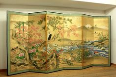 Japanese-BYOBU-folding-screen-AUTUMN-FLOWER-BIRDS