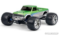 When you're looking to go back in time in automotive history, then check out the #prolineracing 1972 Chevy® C10 body. Available for the large and smaller size monster truck classes, the C10 comes complete with detailed grill, headlights, body molding trim, and that overall distinct C10 look, all you classic truck enthusiasts will not want to be left behind. Mfg part number 3227-00 for E-MAXX 3905, E-REVO, REVO 3.3, T-MAXX 3.3 & MGT 3201-00 for T/E/2.5-MAXX, REVO 2.5 & Savage