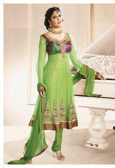$92.59 Green Full Sleeve Brocade and Net Long Anarkali Salwar Kameez 21046