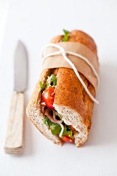 Arugula, Tomato, Mozarella Sandwich