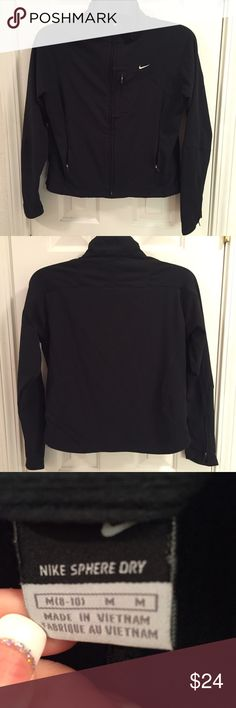 Nike sphere dry women's black jacket Nike sphere dry women's black jacket in size medium. Excellent condition with three outside zipper pockets, two inside pockets and zippers on the lower sleeves for venting. Nike Jackets & Coats