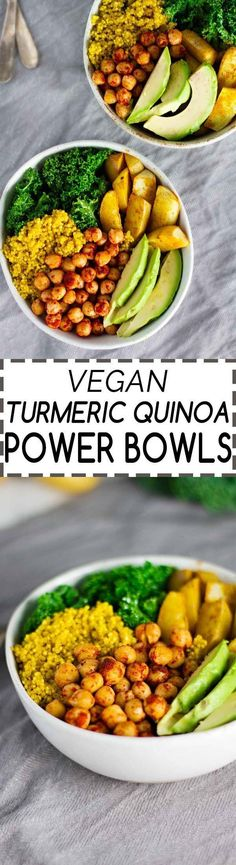 Vegan Turmeric Quinoa Power Bowls! Anti-Inflammatory, nutrient packed, and easy to make. Perfect for a weeknight dinner! ;) #greenpower