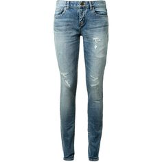 Saint Laurent Original Low Waisted Skinny Clear Blue Jeans (8.807.110 IDR) ❤ liked on Polyvore featuring jeans, pants, bottoms, zipper skinny jeans, blue skinny jeans, super distressed skinny jeans, destroyed jeans and distressed jeans