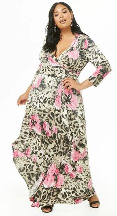 Plus Size Floral Print Surplice Maxi Dress. A soft knit maxi dress featuring a leopard and floral print, a surplice neckline, sleeves, a waist seam detail, and an optional self-tie sash. Very flattering for the fuller figure. Curvy Women Outfits, Curvy Women Fashion, Plus Size Fashion, Clothes For Women, Plus Size Romper, Plus Size Dresses, Plus Size Outfits, Knit Sweater Dress, Other Outfits