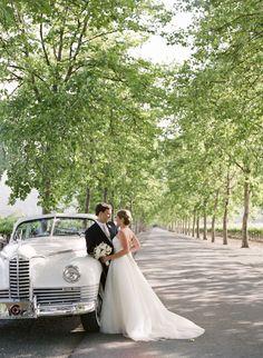 style me pretty - real wedding - usa - california - napa valley wedding - beaulieu garden - bride & groom - getaway car