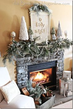 Traditional and Festive Christmas Mantel Decoration