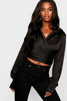 12aae7b23de5 Satin Wrap Top Boohoo, Leather Jacket, Studded Leather Jacket, Leather  Jackets, Leather