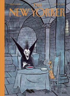 """The New Yorker - Monday, October 31, 2011 - Issue # 4425 - Vol. 87 - N° 34 - « The Cartoon Issue » - Cover """"Diner à Deux"""" by George Booth"""