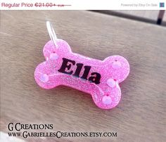 ON SALE Cupcakes Pink Glitter Bone Dog ID by GabriellesCreations