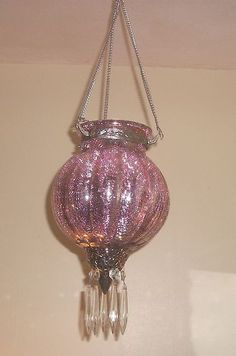 BEAUTIFUL ELEGANT & SPARKLY PINK MERCURY GLASS HANGING LANTERN WITH PRISMS