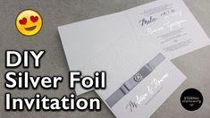Elegant Silver Foiled Embossed Damask Invitation | Wedding Invitation DI...