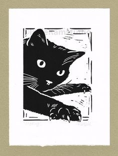 Black Cat, Mousing - Linocut. Original hand pulled Relief Print