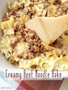 CREAMY BEEF NOODLE BAKE.  This is our favorite dinner! It's so easy, only takes minutes to prepare. www.togetherasfamily.com