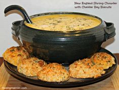 This looks perfect for a cool NFL Game day...or any wet chilly day!.New England Shrimp Chowder with Cheddar Bay Biscuits.  OMG!  #food #recipes