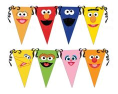 Sesame Street banners, so cute Seasame Street Party, Sesame Street Birthday, Elmo Birthday, First Birthday Parties, Birthday Ideas, Happy Birthday, Street Banners, Elmo And Cookie Monster, Elmo Party